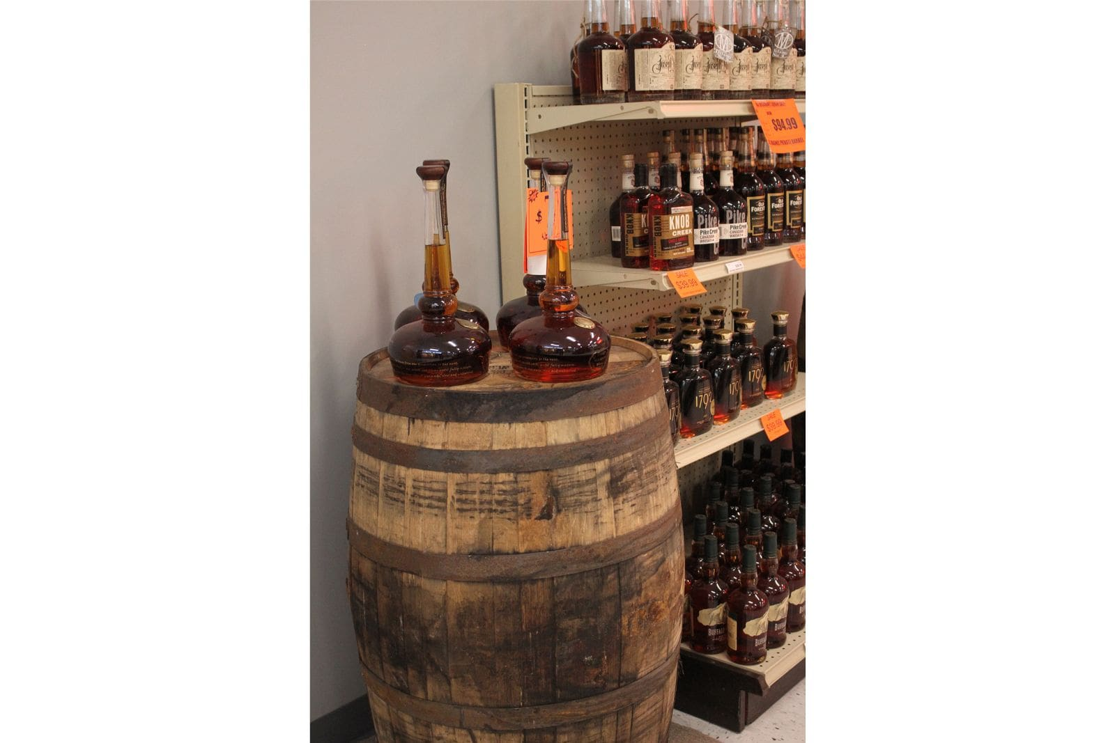 R & J Discount Liquor Whiskey Display